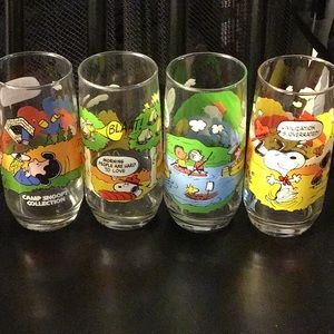 Four camp snoopy collection Mc Donald's glasses
